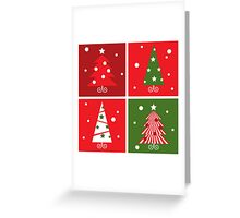 Christmas Trees design blocks icons : red and green Greeting Card