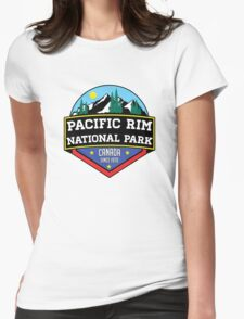 PACIFIC RIM NATIONAL PARK BRITISH COLUMBIA CANADA Skiing Ski Mountain Mountains Snowboard Boating Hiking Womens Fitted T-Shirt