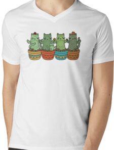 Catcus Garden Mens V-Neck T-Shirt