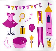 Vector collection of design elements for Princess Party Poster
