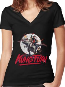 Kung Fury Clasic Movie Women's Fitted V-Neck T-Shirt