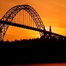 Yaquina Bay Bridge at Sunset by Randy Richards