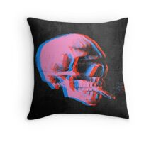 Van Gogh Skull with burning cigarette remixed 2 Throw Pillow