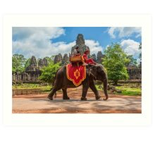 Bayon Temple Elephants Art Print