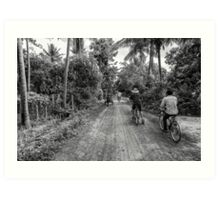 Cambodia: Bike Tour through the Village Art Print