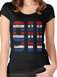 9/11 RED WHITE AND BLUE NEVER FORGET Women's Fitted Scoop T-Shirt