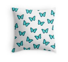 Blue Morpho Butterfly Watercolor Throw Pillow