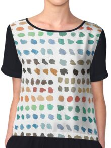 Cool Spectrum Paint Splodges on White Hand Painted Watercolors Chiffon Top