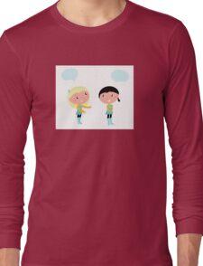 Little girls isolated on white background Long Sleeve T-Shirt