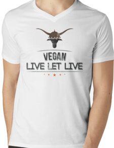 Vegan Live Let Live Mens V-Neck T-Shirt