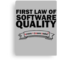 First Law of Software Quality - e = mc2 Canvas Print