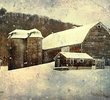 White Winter Barn Christmas Art by Christina Rollo