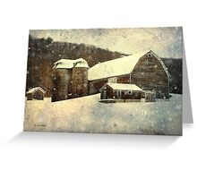 White Winter Barn Christmas Art Greeting Card
