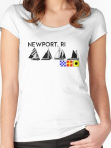 NEWPORT RHODE ISLAND SAILING YACHTING NAUTICAL FLAGS SAIL BOAT YACHT  Women's Fitted Scoop T-Shirt