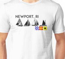 NEWPORT RHODE ISLAND SAILING YACHTING NAUTICAL FLAGS SAIL BOAT YACHT  Unisex T-Shirt