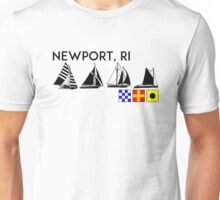 NEWPORT RHODE ISLAND SAILING YACHTING NAUTICAL FLAGS SAIL BOAT YACHT  Unisex T-Shirt