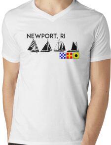 NEWPORT RHODE ISLAND SAILING YACHTING NAUTICAL FLAGS SAIL BOAT YACHT  Mens V-Neck T-Shirt