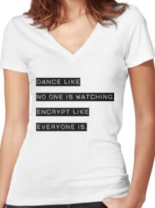 Encrypt like everyone is watching (text only) Women's Fitted V-Neck T-Shirt