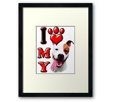 I Love My Pit Bull Framed Print