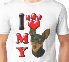 I Love My Min Pin Unisex T-Shirt