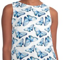 Beautiful small butterflies in blue, fun bold animal print design in blue, classic statement fashion clothing, soft furnishings and home decor  Contrast Tank