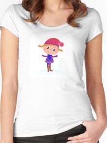 Little Girl in winter cosume isolated on white - vector cartoon Women's Fitted Scoop T-Shirt