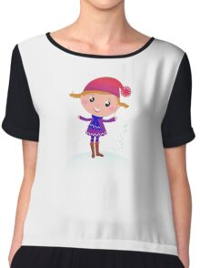 Little Girl in winter cosume isolated on white - vector cartoon Chiffon Top