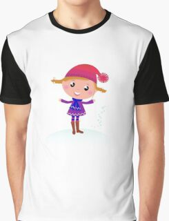 Little Girl in winter cosume isolated on white - vector cartoon Graphic T-Shirt