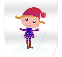 Little Girl in winter cosume isolated on white - vector cartoon Poster