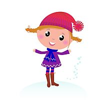 Little Girl in winter cosume isolated on white - vector cartoon Photographic Print