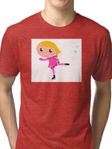 Cute little Christmas Girl ice skating cartoon Illustration Tri-blend T-Shirt