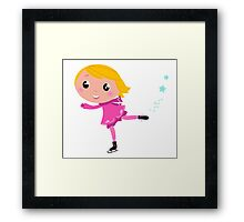 Cute little Christmas Girl ice skating cartoon Illustration Framed Print