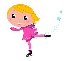 Cute little Christmas Girl ice skating cartoon Illustration Photographic Print