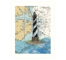 Cape Hatteras Lighthouse NC Nautical Chart Cathy Peek Art Print