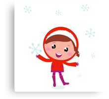 Little Child in winter costume isolated on white Canvas Print