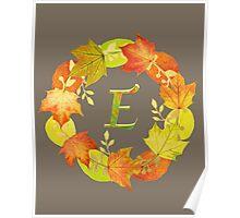 Autumn Leaf Grey Initial Monogram E Poster
