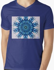 BLUE INKBLOT MANDALA Mens V-Neck T-Shirt