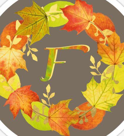 Autumn Leaf Grey Initial Monogram F Sticker