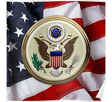 U.S.A.  - The Great Seal over American Flag Poster
