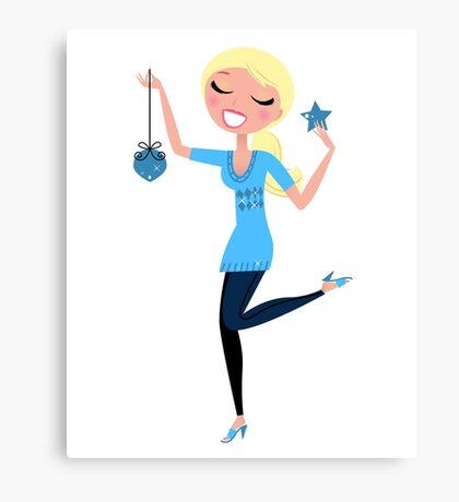 Blond cute Girl with Christmas decoration Canvas Print
