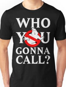 """Ghost Busters logo White """"Who you gonna call"""" Unisex T-Shirt"""