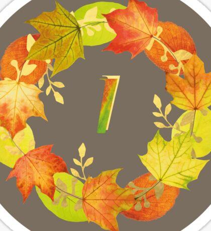 Autumn Leaf Grey Initial Monogram I Sticker
