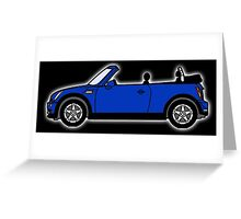 Mini, Cooper, Convertible, BMW, Motor, Car, Soft Top, BLUE, on Black Greeting Card