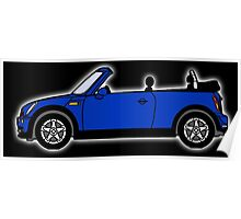 Mini, Cooper, Convertible, BMW, Motor, Car, Soft Top, BLUE, on Black Poster