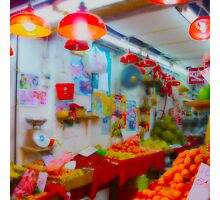 Markt, Market, Hong Kong, China, Gemüse- Obstladen Photographic Print
