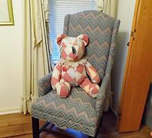 Teddy In His Chair Pillow by WildestArt