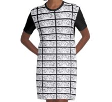 Dreamy Magical Space Eyes B&W Graphic T-Shirt Dress