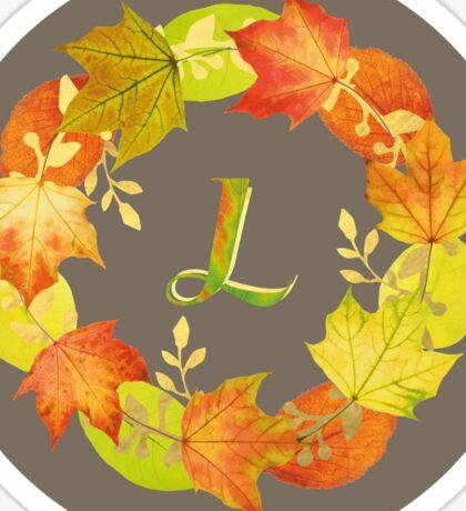 Autumn Leaf Grey Initial Monogram L Sticker