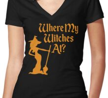 Where My Witches At? Women's Fitted V-Neck T-Shirt