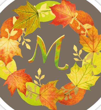 Autumn Leaf Grey Initial Monogram M Sticker